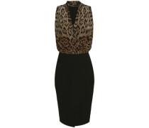 Paneled leopard-print wool-blend dress