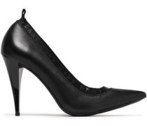 Katrina Patent-trimmed Gathered Leather Pumps Black