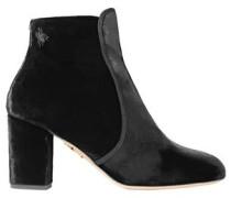Alba Embellished Velvet Ankle Boots Black