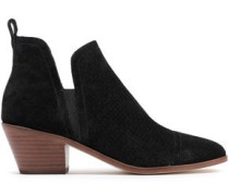 Belle Laser-cut Suede Ankle Boots Black