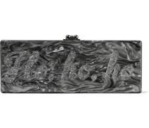 Flavia Ho Ho Ho glittered marble-effect acrylic box clutch