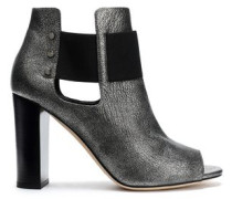 Cutout metallic cracked-leather ankle boots