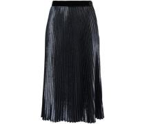 Metallic Velvet Plissé Midi Skirt Navy