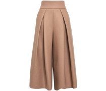 Pleated Knitted Culottes Camel