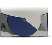 Soiree Color-block Matte And Mirrored-leather Shoulder Bag Silver Size --
