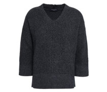 Ribbed Wool-blend Sweater Gunmetal
