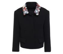 Woman Embellished Stretch-crepe Jacket Black