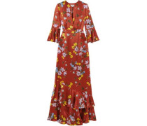 Venice Floral-print Silk-satin Gown Tomato Red