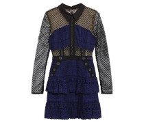 Ruffled Guipure Lace And Broderie Anglaise Cotton Mini Dress Navy