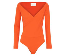 Yolan Wrap-effect Crepe Bodysuit Orange
