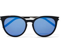 25/k Round-frame Acetate And Silver-tone Mirrored Sunglasses Black Size --