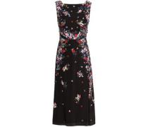 Juno Tie-back Floral-print Silk Crepe De Chine Midi Dress Black Size 12