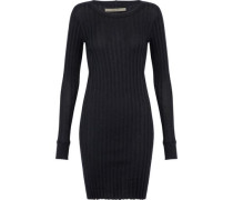 Ribbed cotton and cashmere-blend mini dress
