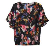 Sarah floral-print hammered-silk top