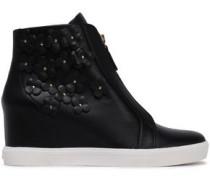 Floral appliquéd leather wedge sneakers