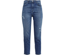 Cropped Distressed High-rise Slim-leg Jeans Mid Denim  5