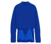 Casper Layered Cashmere And Silk-satin Turtleneck Sweater Blue