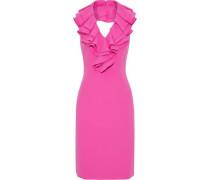 Ruffled neon cady halterneck dress