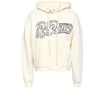Studded Printed French Cotton-terry Hooded Sweatshirt Ivory