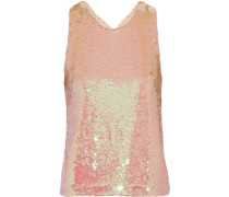 Cristal Sequined Tulle Tank Blush