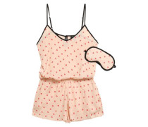 Printed Crepe De Chine Playsuit And Eye Mask Set Pastel Pink