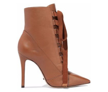 Lace-up suede-trimmed leather ankle boots