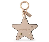 Studded Leather Keychain Beige Size --