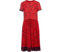 Layered Pleated Leopard-print Washed-crepe Dress Red