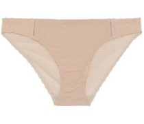 Stretch-jersey And Mesh Low-rise Briefs Beige
