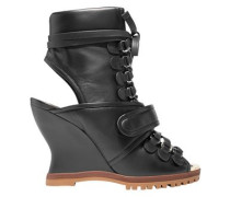 Woman Cutout Leather Ankle Boots Black