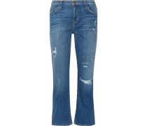 Distressed mid-rise flared jeans