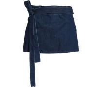 Leather-paneled Denim Mini Skirt Dark Denim Size 14