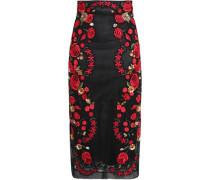 Embellished embroidered mesh pencil skirt