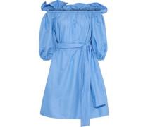 Aubrie Off-the-shoulder Belted Taffeta Dress Light Blue