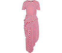 Lala Asymmetric Ruched Striped Stretch-jersey Midi Dress Red