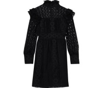 Ruffled Embroidered Cotton-blend Tulle And Guipure Lace Mini Dress Black