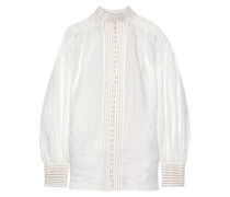 Woman Open Knit-trimmed Ramie Blouse Ivory