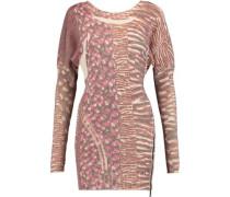 Printed wool-blend mini dress
