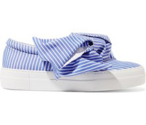 Appliquéd satin slip-on sneakers