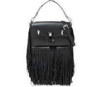 Baguette Studded Fringed Leather Shoulder Bag Black Size --