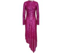Sequined Mesh Midi Dress Magenta