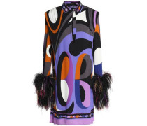 Feather-trimmed printed jersey mini dress