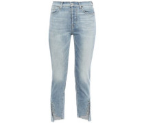 Woman Edie Cropped Barbell-embellished High-rise Slim-leg Jeans Light Denim