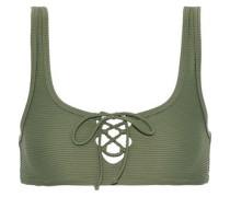 Erin Lace-up Ribbed Bikini Top Army Green