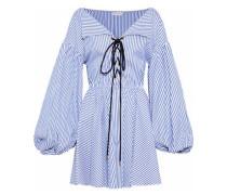 Olympia Lace-up Striped Cotton-poplin Mini Dress Blue