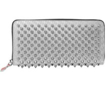 Woman Panettone Spiked Glittered Metallic Leather Continental Wallet Silver