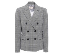 Double-breasted Prince Of Wales Checked Stretch-crepe Blazer Gray