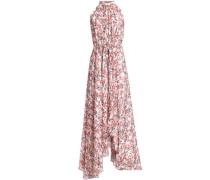 Belted asymmetric printed silk-georgette maxi dress