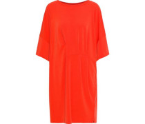 Pleated Stretch-jersey Mini Dress Tomato Red