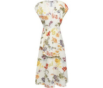 Flared Floral-print Cotton-blend Faille Peplum Midi Dress Cream